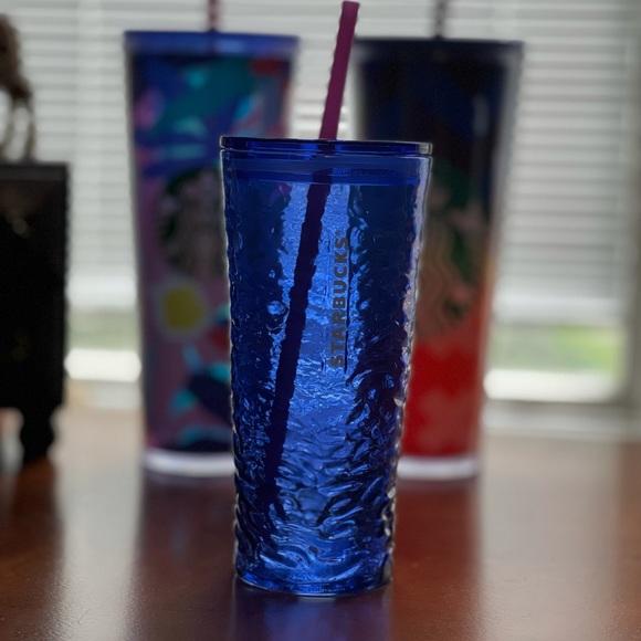 BRAND NEW Starbucks Cobalt Blue Glass Tumbler 18oz